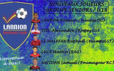 5 Nouveaux joueurs rejoignent le LANNION FC