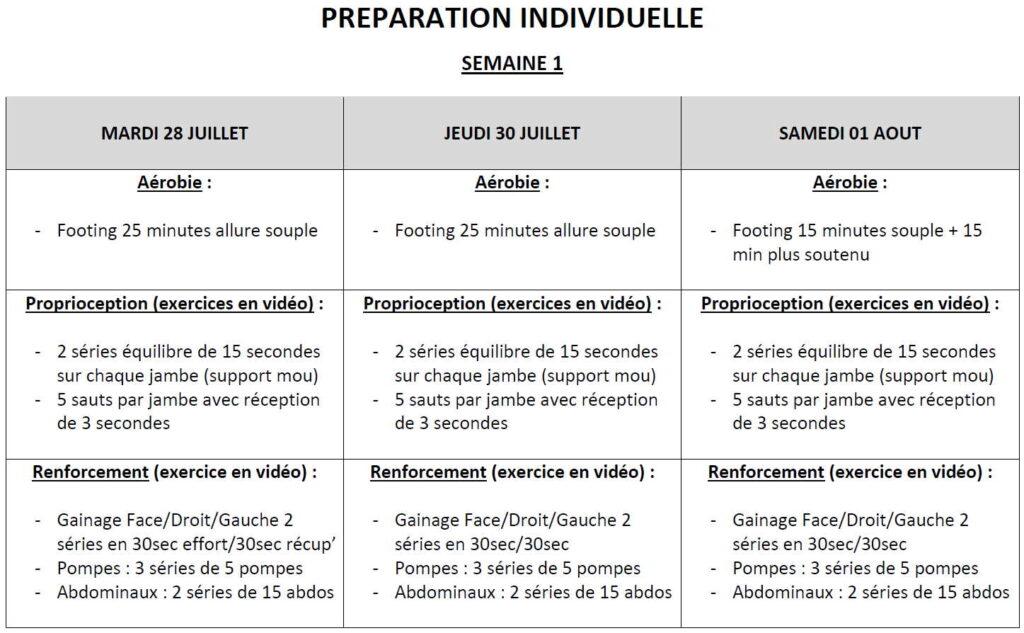 lannion fc préparation individuelle u16-17 semaine 1