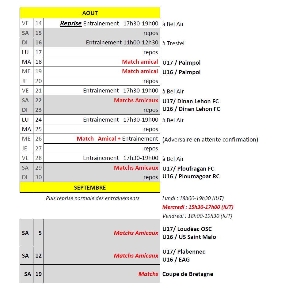 lannion football club programme reprise u16 u17