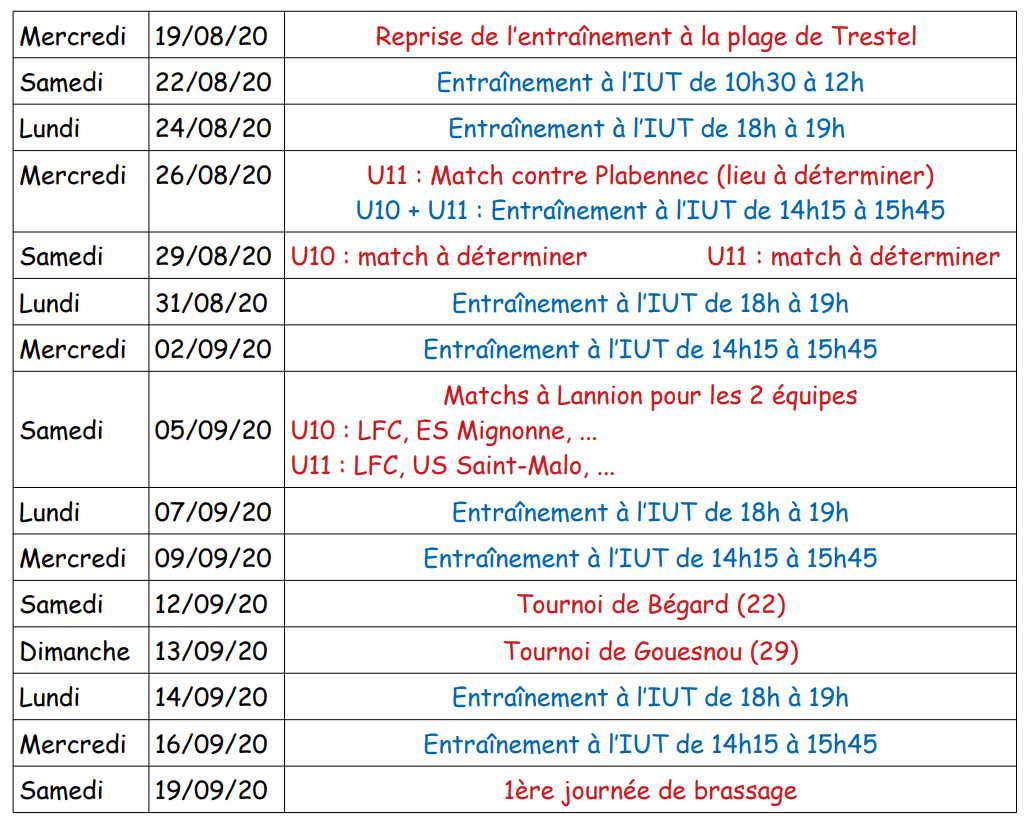 lannion football club programme reprise U10 U11