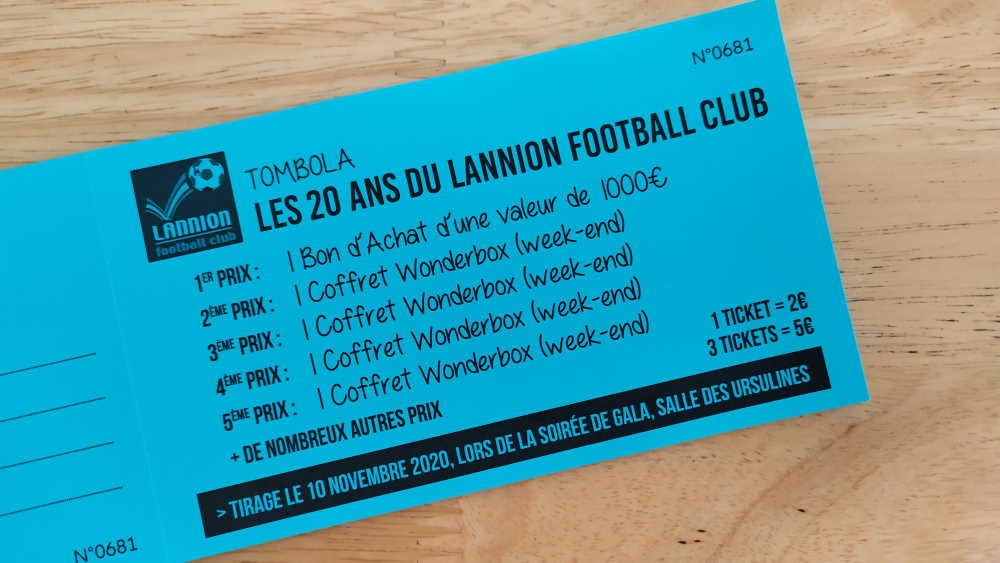 tombola 20 ans lannion football club